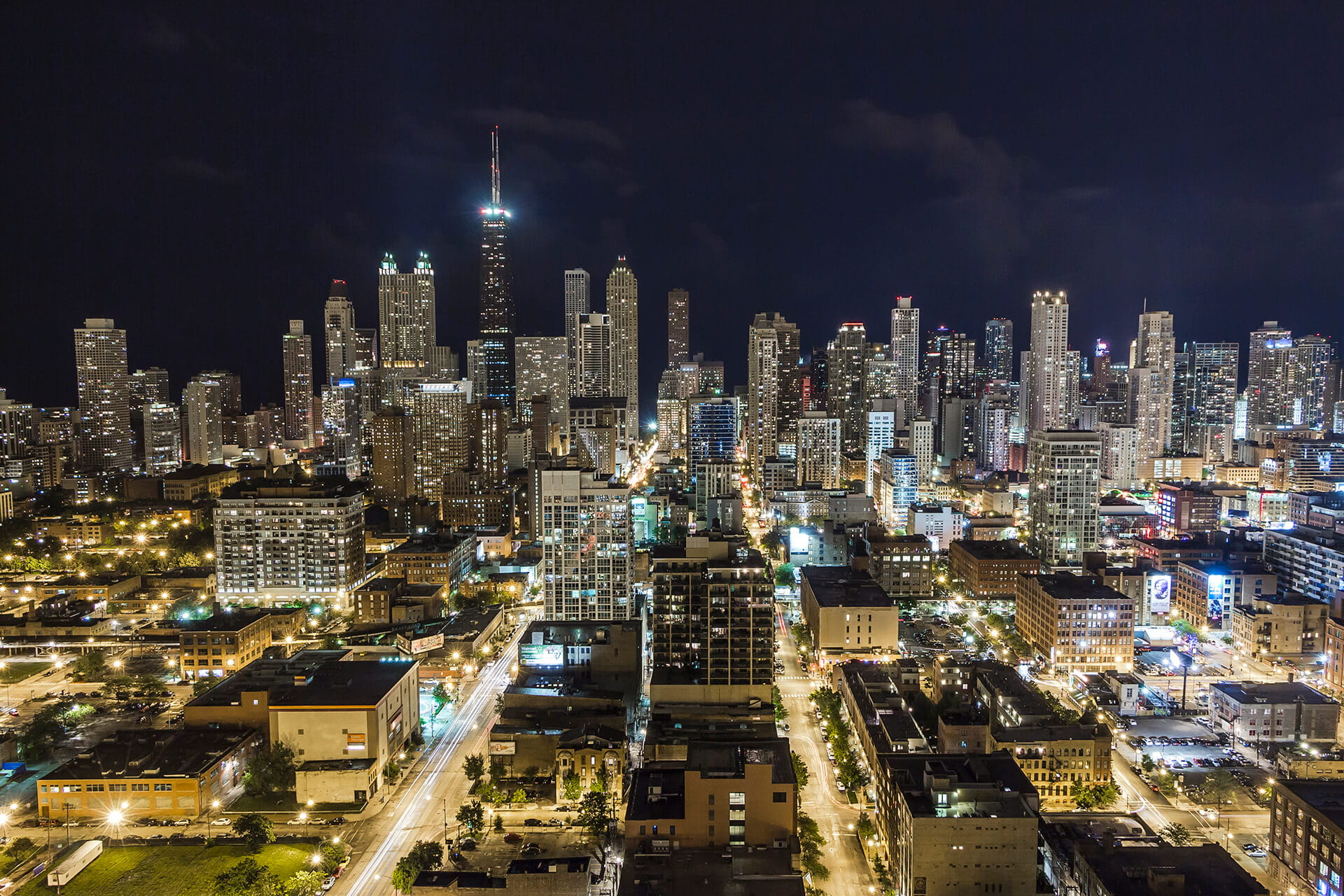 Aerial view of Chicago Skyline at Night